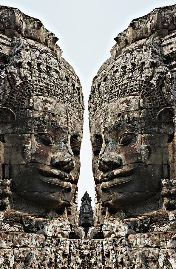 Angkor Wat, Giant Faces At Bayon Temple Photograph  - Angkor Wat, Giant Faces At Bayon Temple Fine Art Print