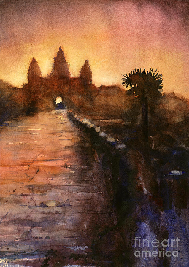 Angkor Wat Sunrise 2 Painting  - Angkor Wat Sunrise 2 Fine Art Print