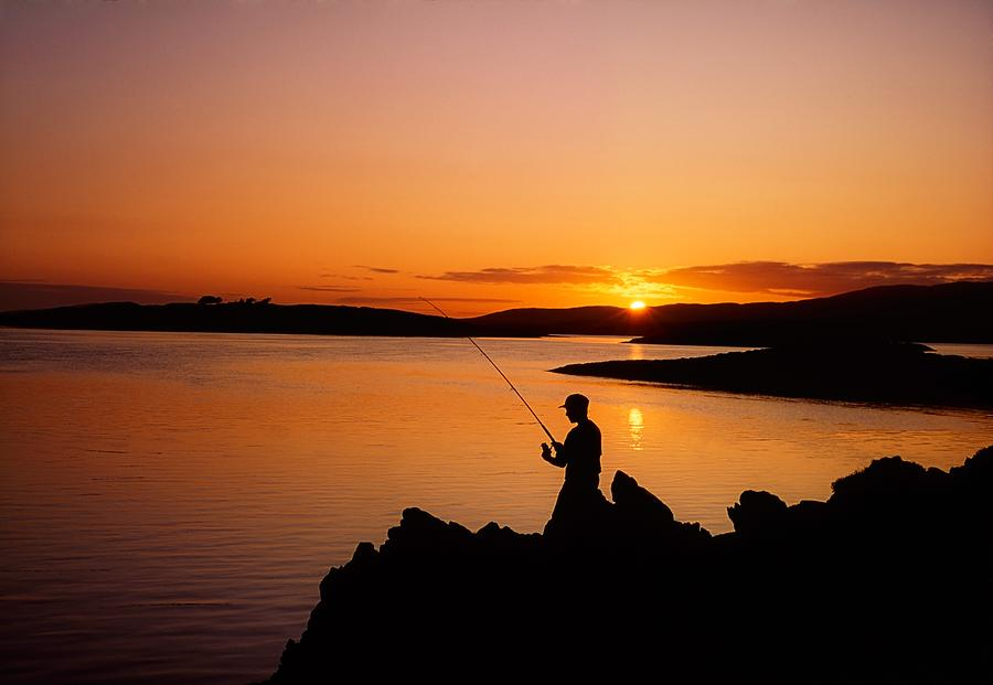 Angler At Sunset, Roaring Water Bay, Co Photograph