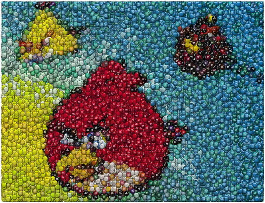 Angry Birds Mm Mosaic Digital Art  - Angry Birds Mm Mosaic Fine Art Print