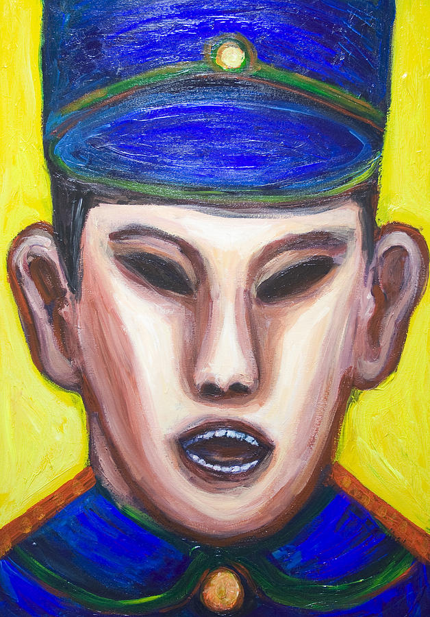 Angry Chinese Police Officer Painting  - Angry Chinese Police Officer Fine Art Print