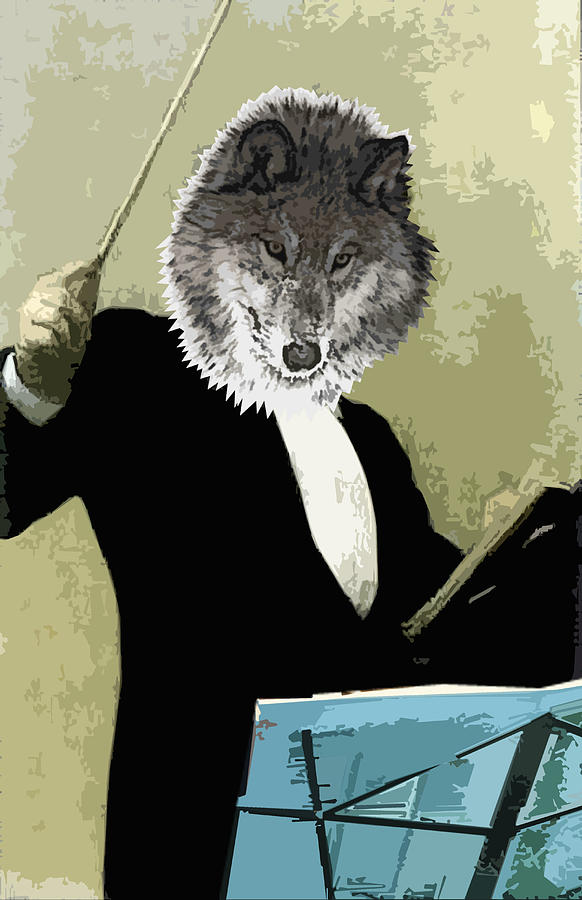 Animal Family 8 Wolf Composer Digital Art  - Animal Family 8 Wolf Composer Fine Art Print