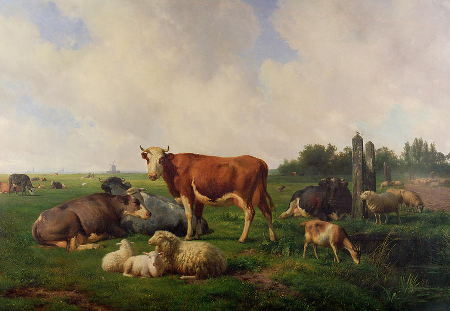 Animals Grazing In A Meadow  Painting