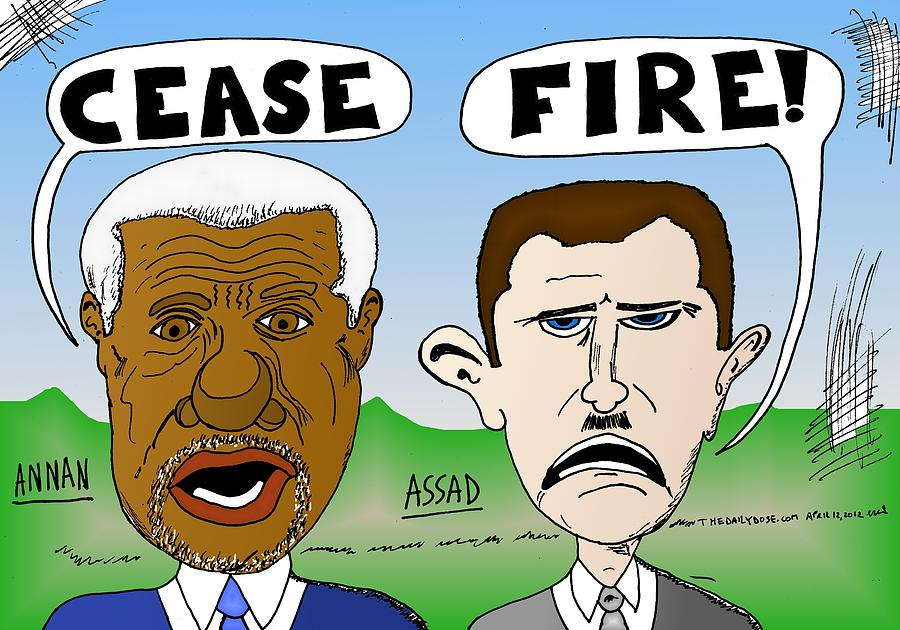 Annan Assad Cease Fire Cartoon Drawing  - Annan Assad Cease Fire Cartoon Fine Art Print