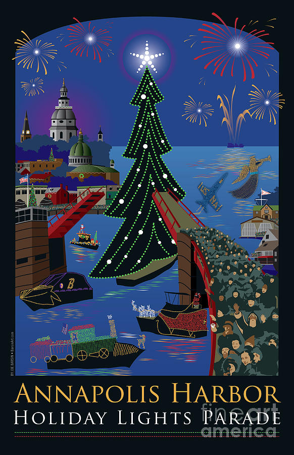 Annapolis Holiday Lights Parade Digital Art  - Annapolis Holiday Lights Parade Fine Art Print