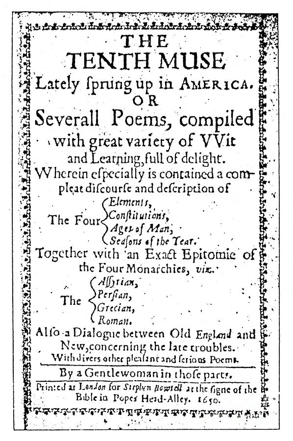 1650 Photograph - Anne Bradstreet Title-page by Granger