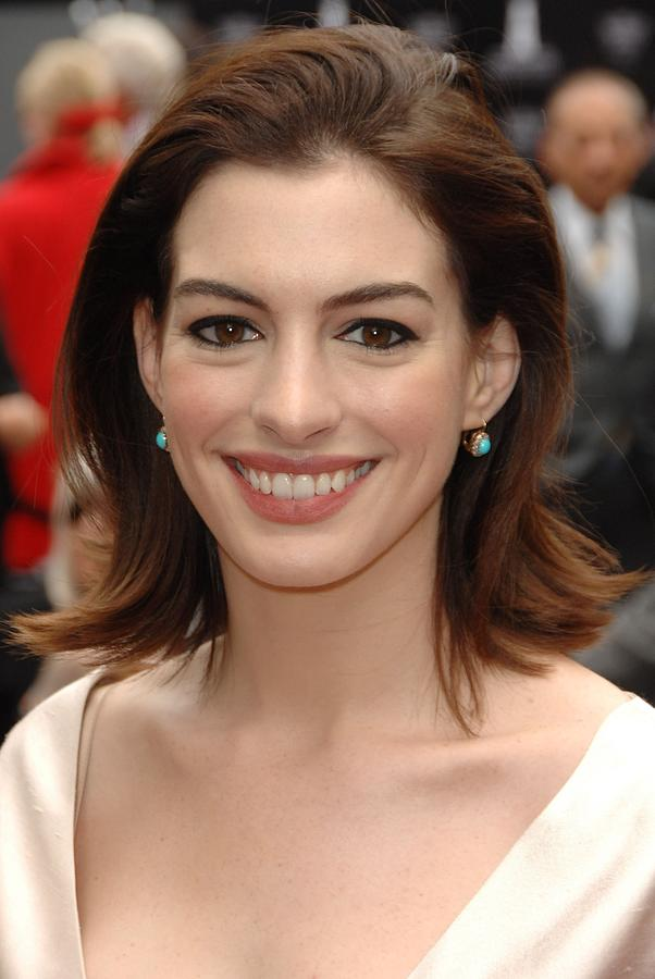 Anne Hathaway At The Press Conference Photograph  - Anne Hathaway At The Press Conference Fine Art Print