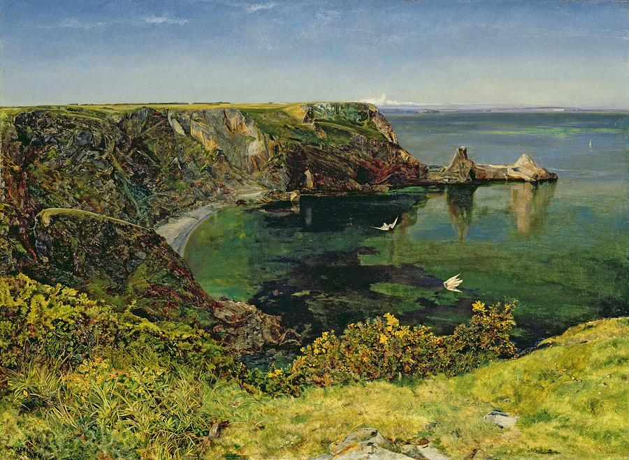 Ansteys Cove In Devon Painting