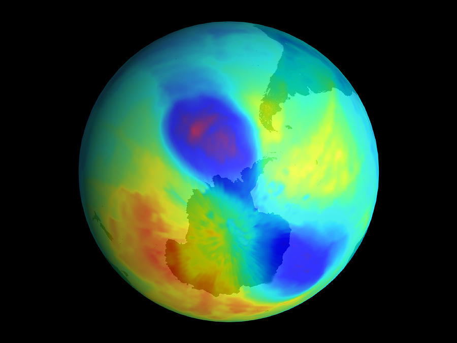 Antarctic Ozone Hole, September 2002 Photograph