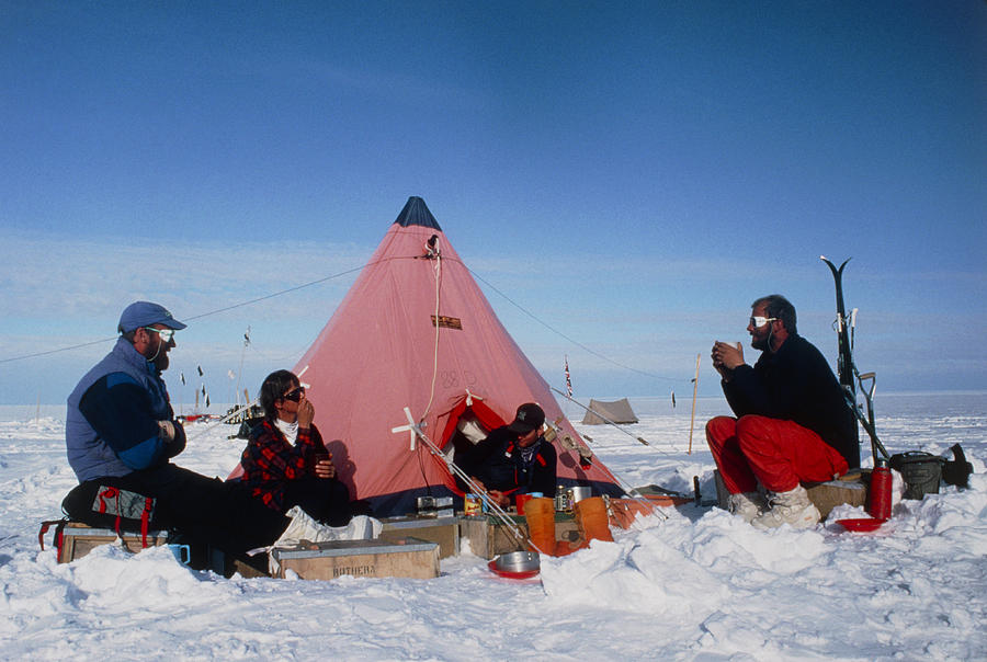 Antarctic Research Team Relaxing Outside Tent Photograph  - Antarctic Research Team Relaxing Outside Tent Fine Art Print