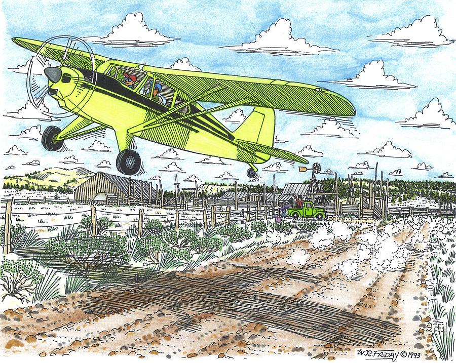 Antique Airplane Taking Flight Drawing