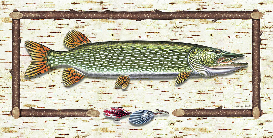 Antique Birch Pike And Lure Painting