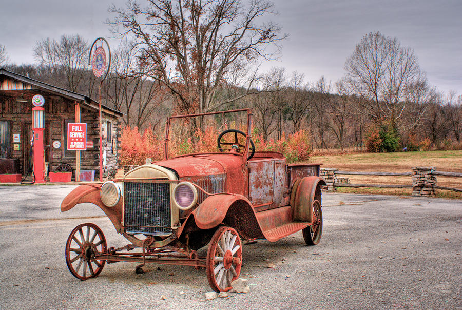 Antique Car And Filling Station 1 Photograph  - Antique Car And Filling Station 1 Fine Art Print