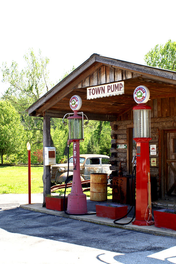 Antique Car And Filling Station 2 Photograph  - Antique Car And Filling Station 2 Fine Art Print