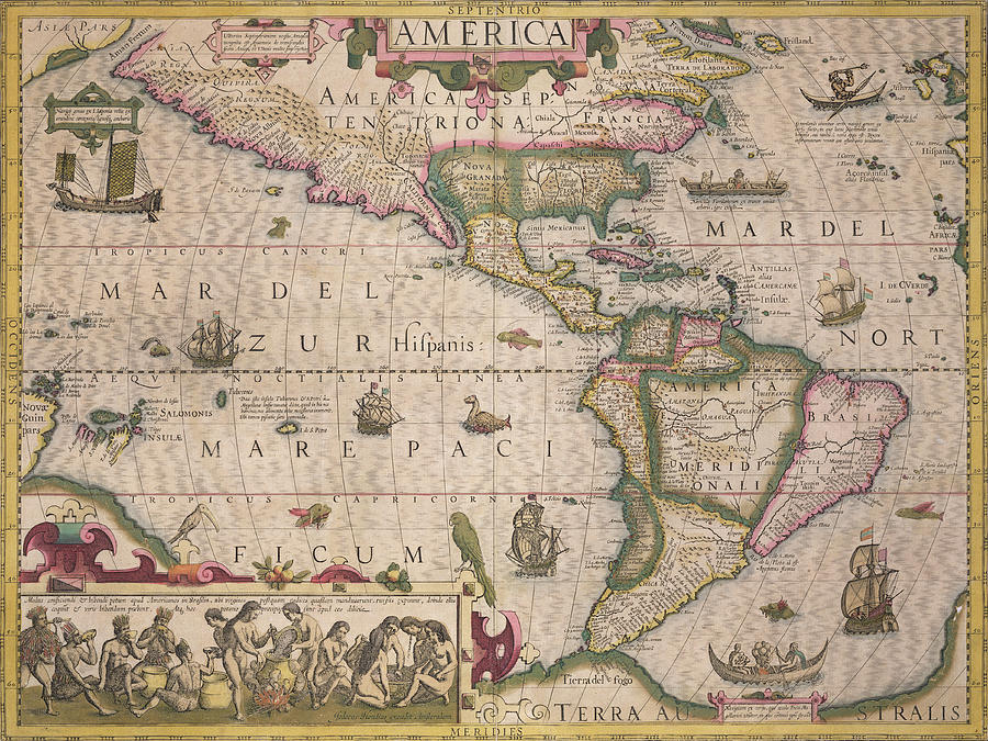 Antique Map Of America Drawing