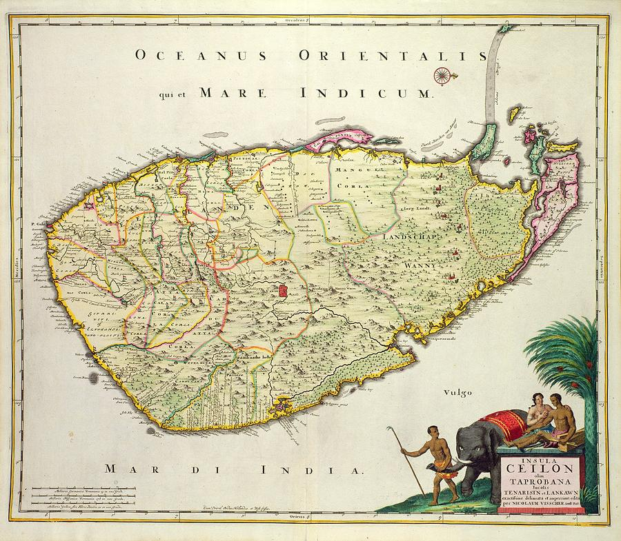 Antique Map Of Ceylon Drawing