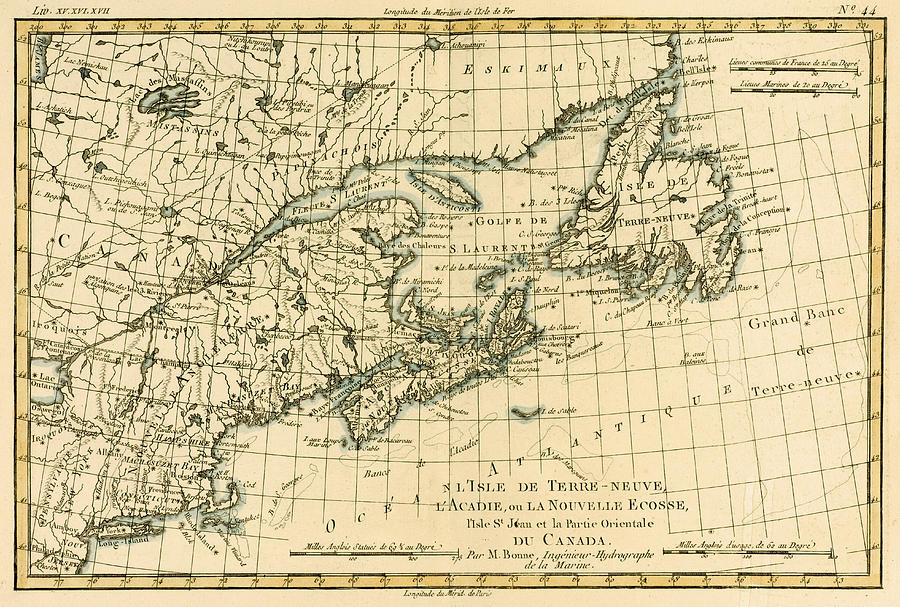 Antique Map Of Eastern Canada Drawing