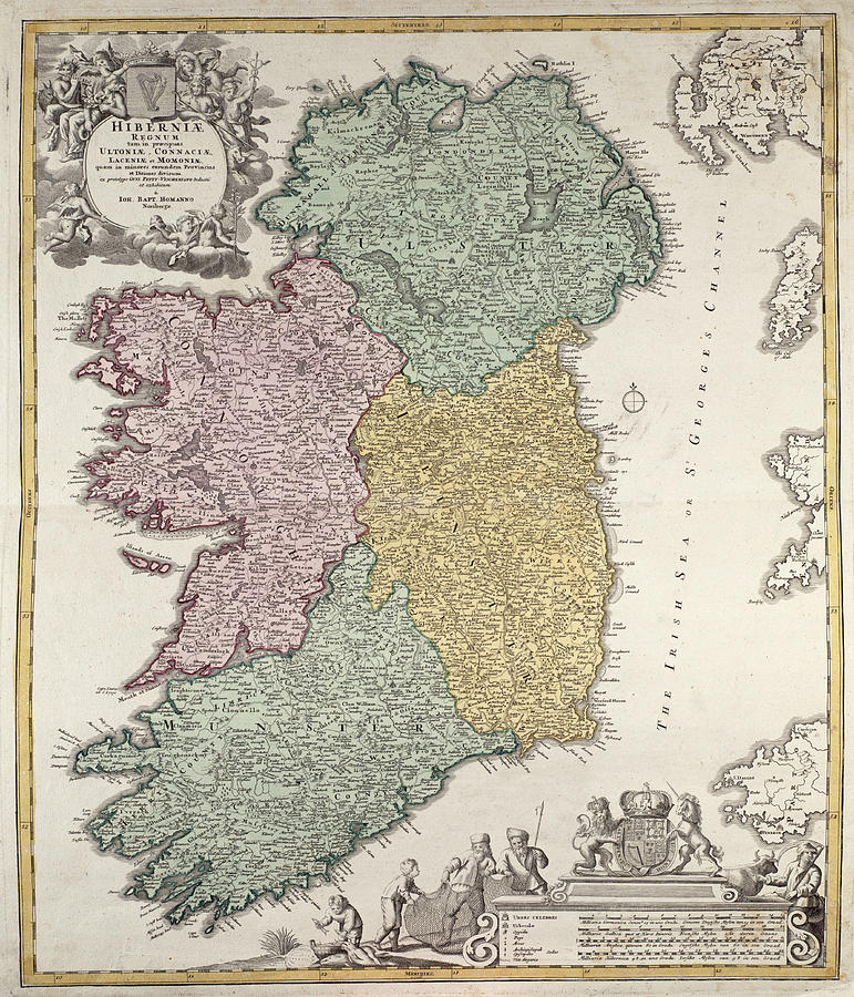Antique Map Of Ireland Showing The Provinces Drawing  - Antique Map Of Ireland Showing The Provinces Fine Art Print