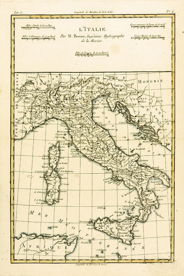 Antique Map Of Italy Drawing
