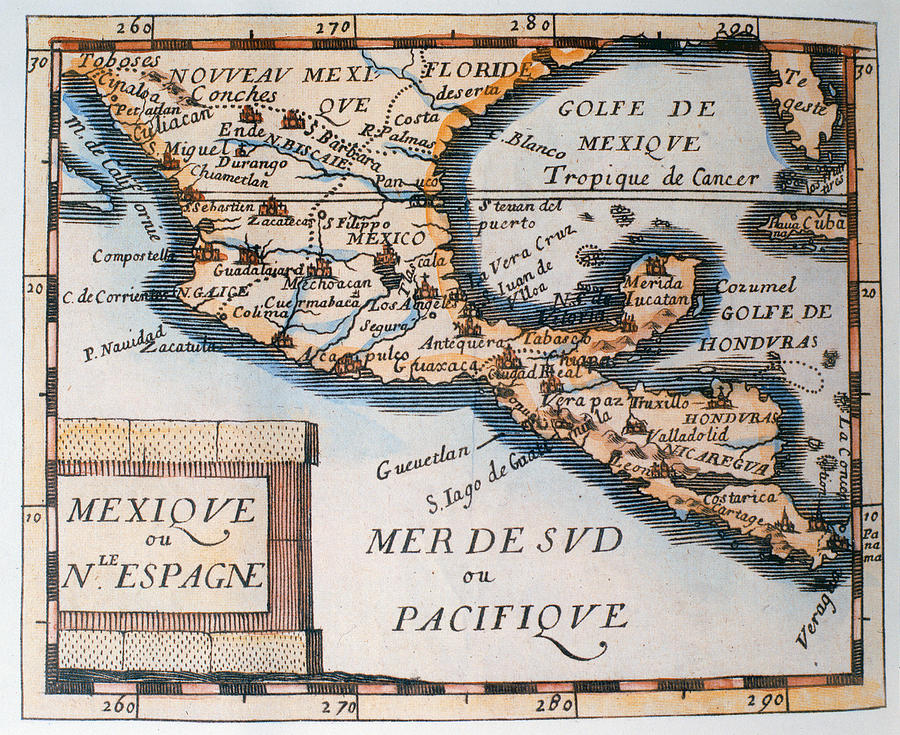 Antique Map Of Mexico Or New Spain Painting