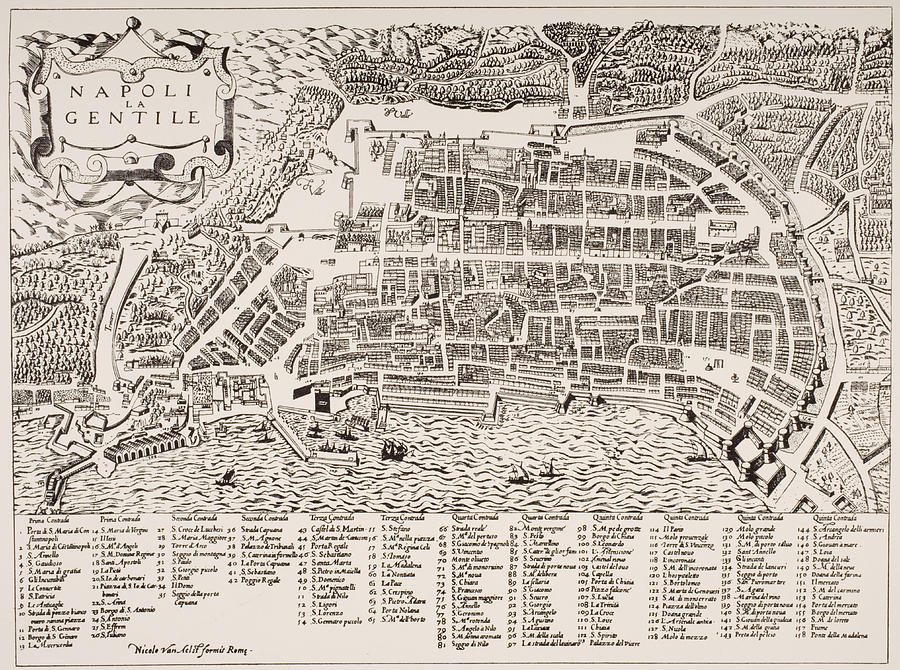Antique Map Of Naples Painting  - Antique Map Of Naples Fine Art Print
