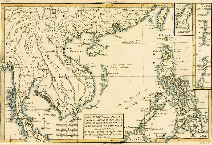 Antique Map Of South East Asia Drawing