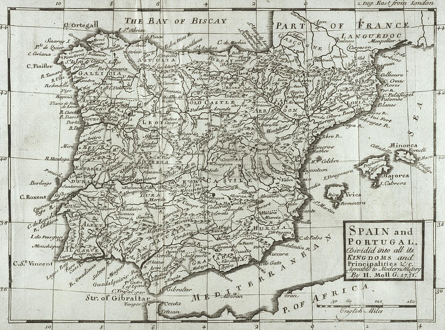 Antique Map Of Spain And Portugal Photograph
