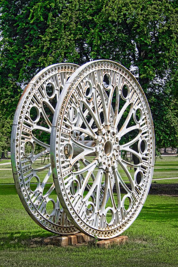 Steel Photograph - Antique Paddle Wheel University Of Alabama Birmingham by Kathy Clark