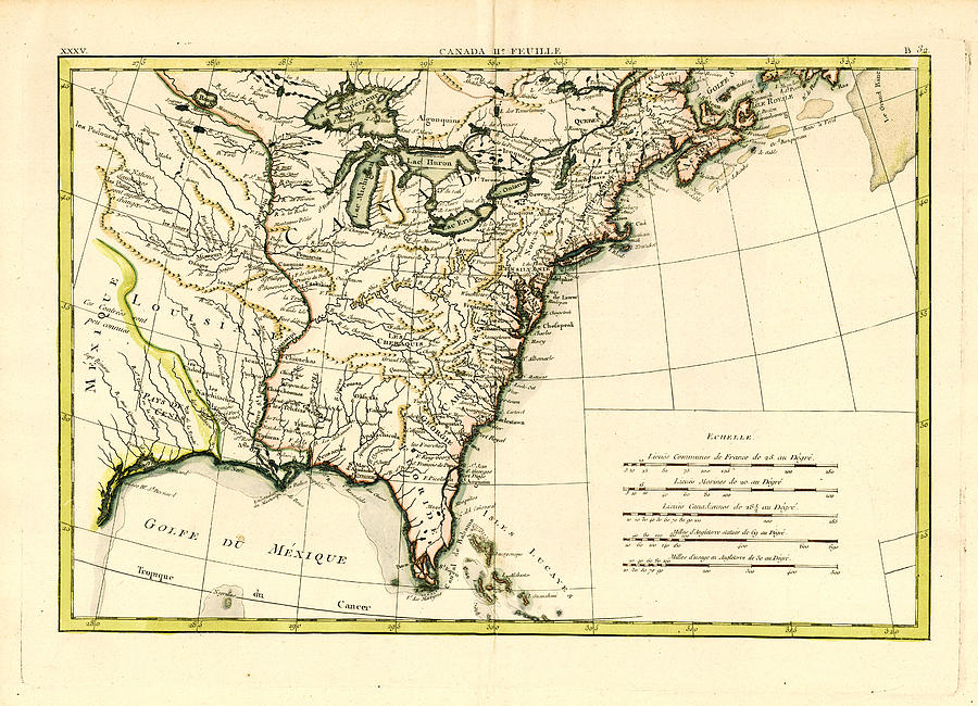Antique Se United States Map Painting  - Antique Se United States Map Fine Art Print