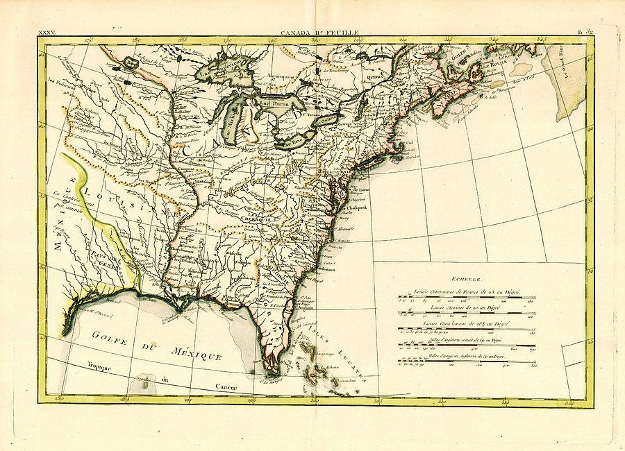 Antique Se United States Map Painting