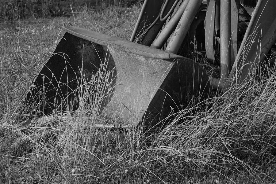 Antique Tractor Bucket In Black And White Photograph
