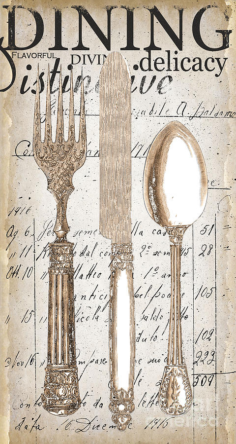 Antique Utensils For Kitchen And Dining In White Painting