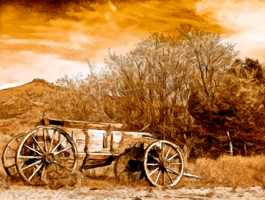 Antique Wagon Painting - Antique Wagon by Bob and Nadine Johnston