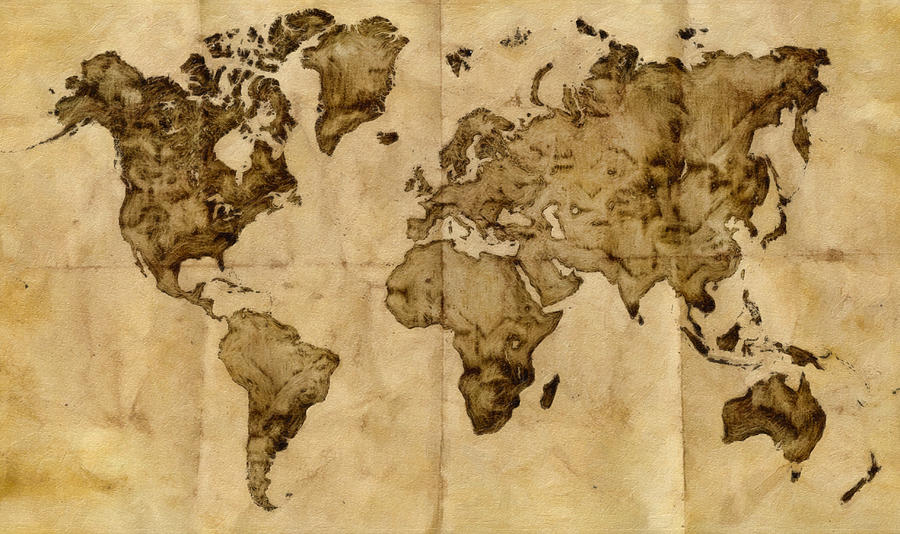 Antique World Map Painting  - Antique World Map Fine Art Print