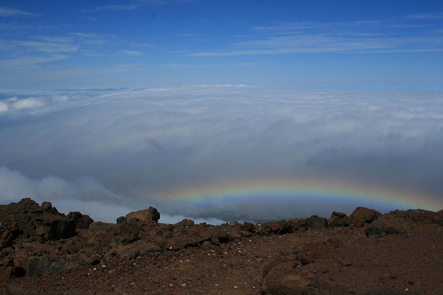 Anuenue - Rainbow At The Ahinahina Ahu Haleakala Sunrise Maui Hawaii Photograph  - Anuenue - Rainbow At The Ahinahina Ahu Haleakala Sunrise Maui Hawaii Fine Art Print