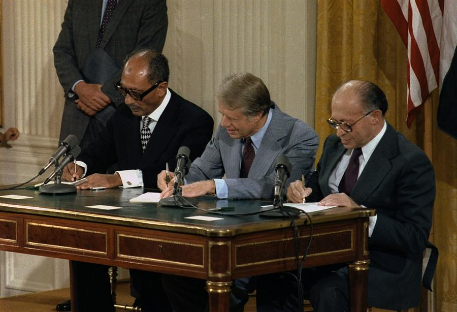 Anwar Sadat Jimmy Carter And Menahem Photograph