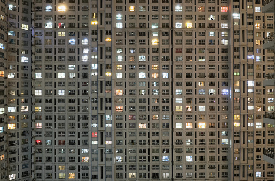 Apartment Block At Night, Typical Photograph  - Apartment Block At Night, Typical Fine Art Print