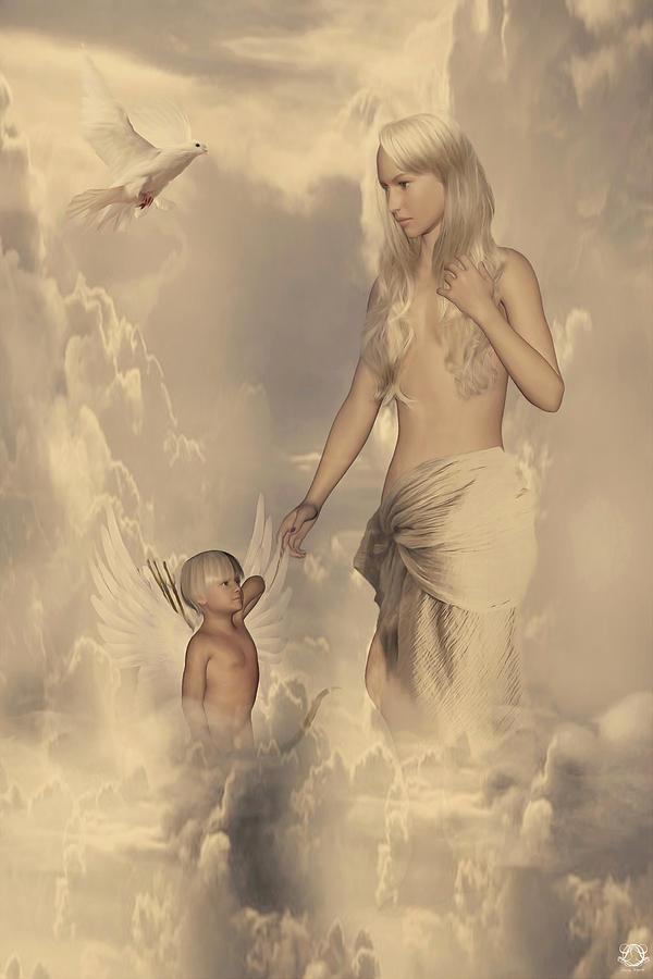 Aphrodite Digital Art - Aphrodite And Eros by Lourry Legarde