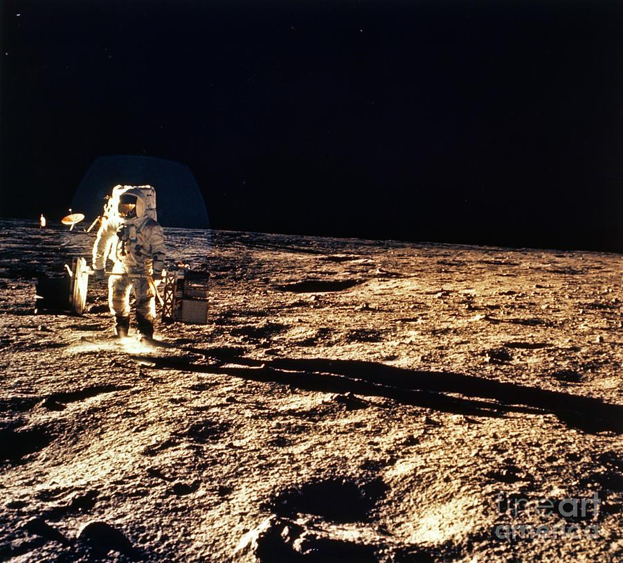 Apollo 12 Astronaut Walking On The Moon Photograph by NASA ...