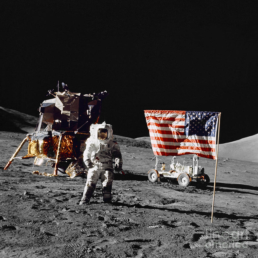 Apollo 17 Astronaut Stands Photograph  - Apollo 17 Astronaut Stands Fine Art Print