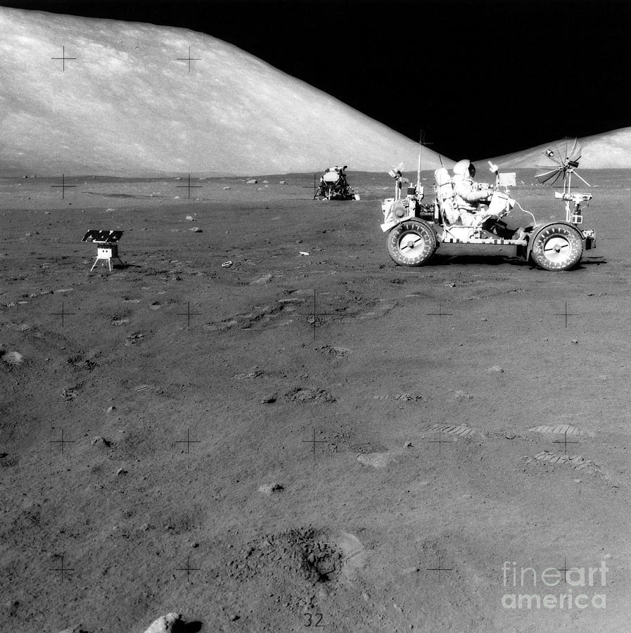 One Person Photograph - Apollo 17 Image Of Land Rover On Moon by Stocktrek Images