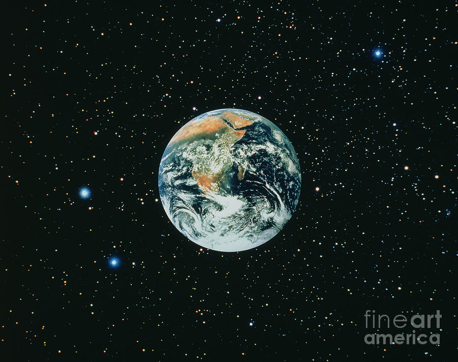 Apollo 17 View Of Earth With Starfield Photograph