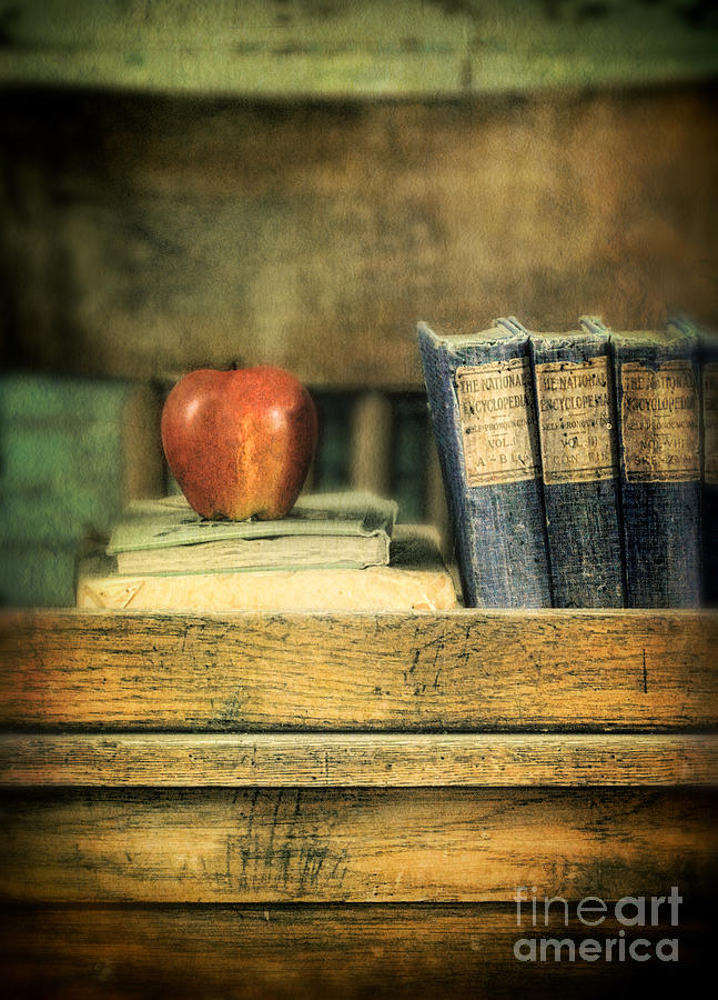 Apple And Books On The Teachers Desk Photograph  - Apple And Books On The Teachers Desk Fine Art Print