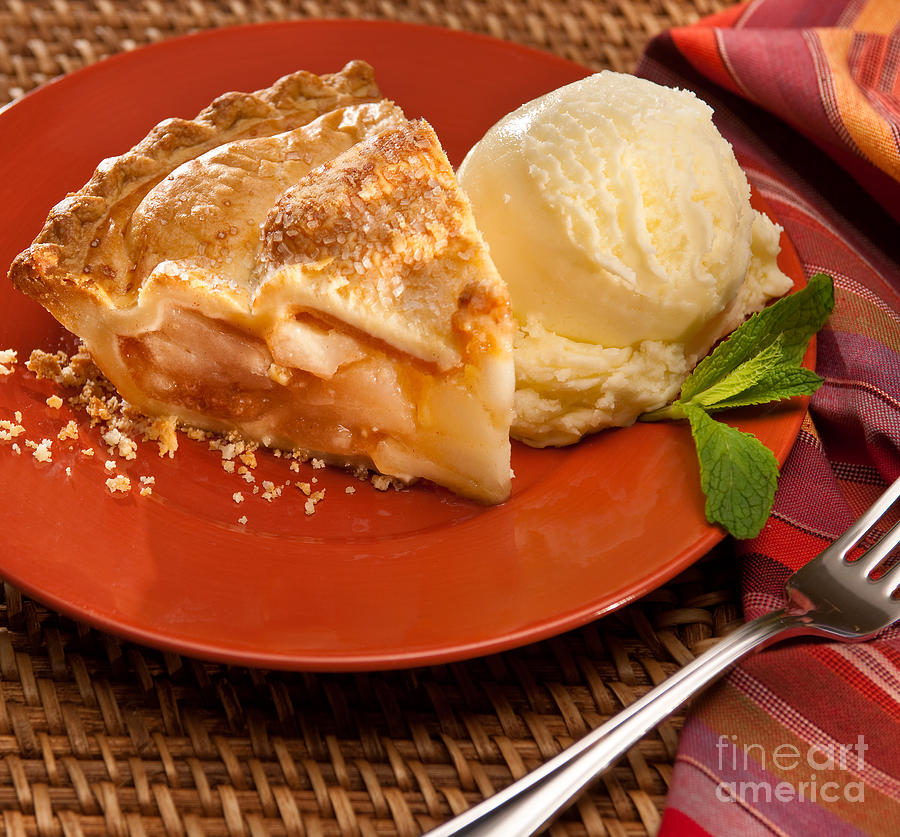 Food Photograph - Apple Pie And Ice Cream by Vance Fox