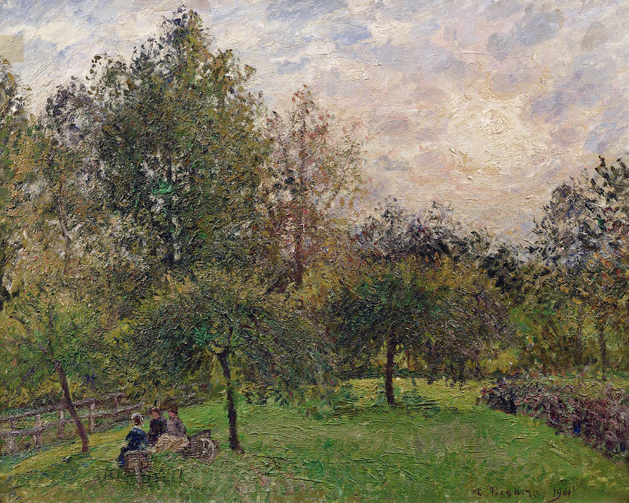 Apple Trees And Poplars In The Setting Sun Painting
