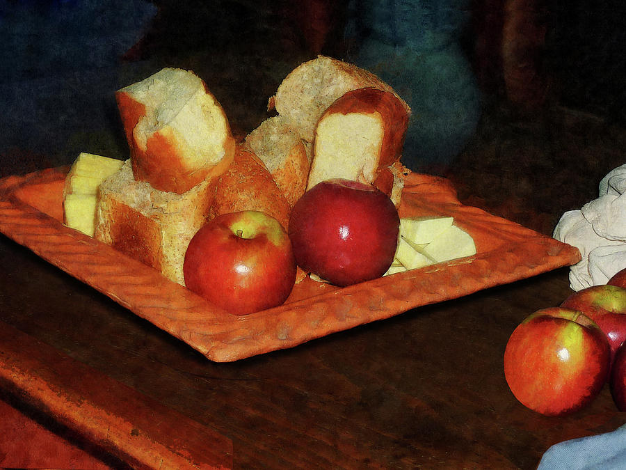 Apples And Bread Photograph  - Apples And Bread Fine Art Print