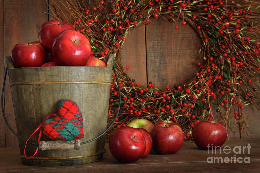 Apples In Wood Bucket For Holiday Baking Photograph  - Apples In Wood Bucket For Holiday Baking Fine Art Print