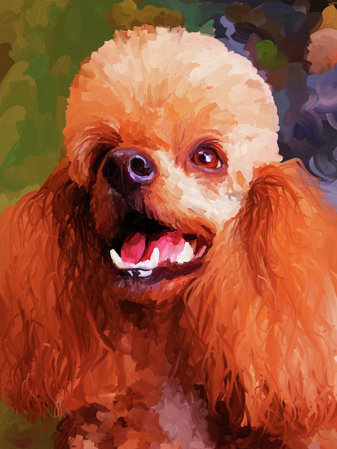 Apricot Poodle Painting
