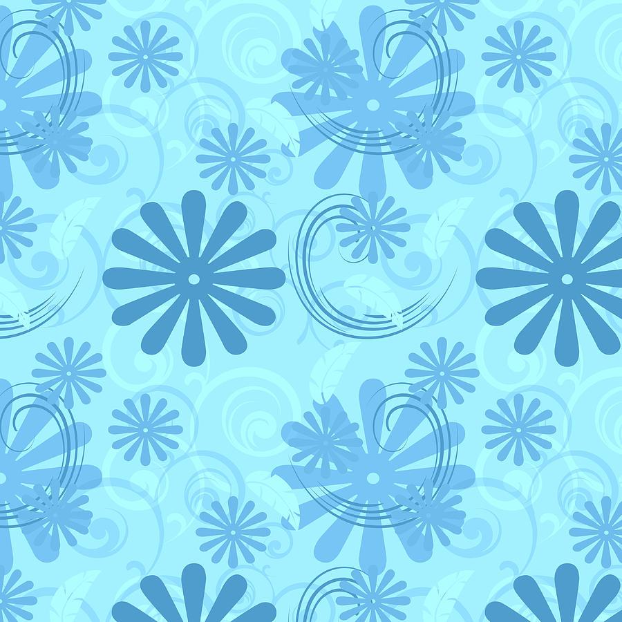 Aqua Fun Flowers And Swirls Photograph