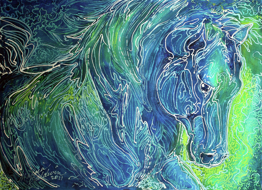 Aqua Mist Equine Abstract Painting